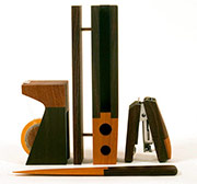 Magno Wooden Desk Set with tape dispenser, stapler, letter opener and letter holder