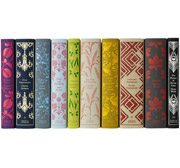 The spines of the colorful set of Penguin Hardcover Classics